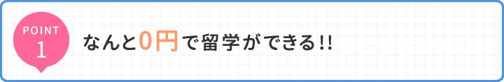 POINT1 なんと0円で留学ができる!!